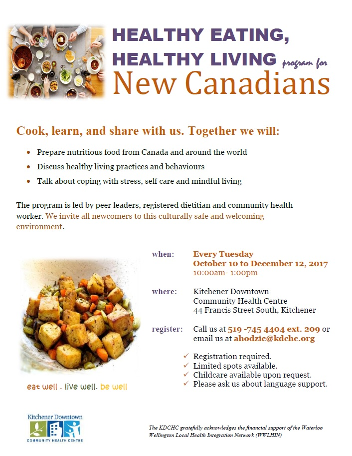 Healthy Living Program- new Canadians - Fall 2017